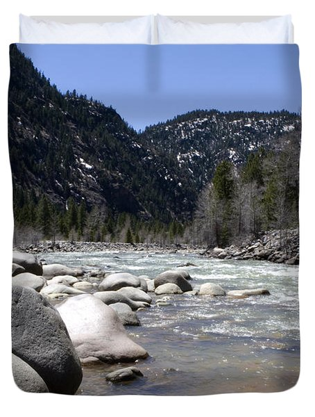 Duvet Cover featuring the photograph Rock In The River by Lorraine Devon Wilke