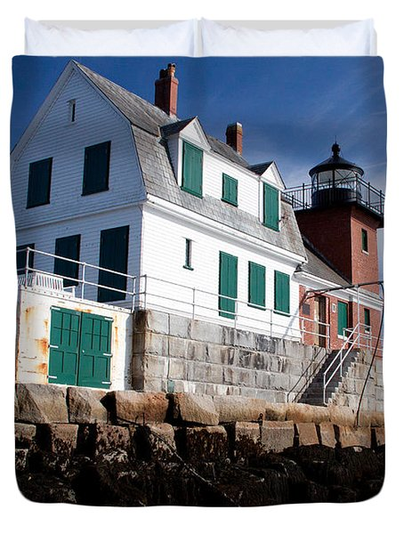 Rockland Breakwater Lighthouse Duvet Cover
