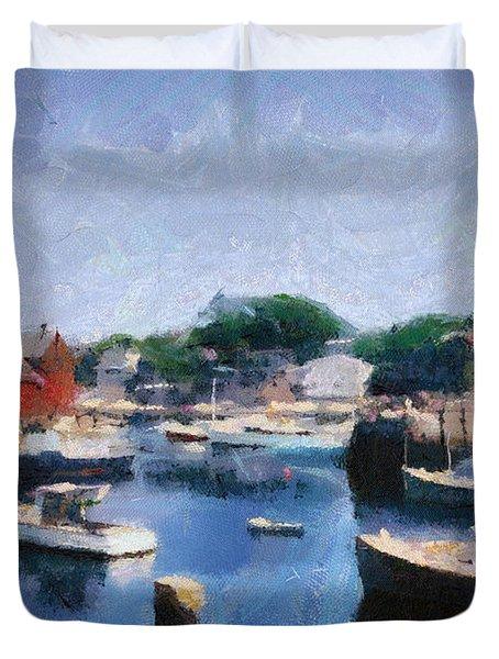 Rockport Maine Harbor Duvet Cover