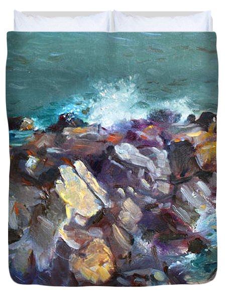 Rocks Against The Ocean  Duvet Cover