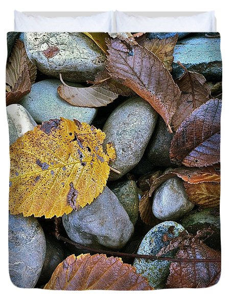 Duvet Cover featuring the photograph Rocks And Leaves by Bill Owen