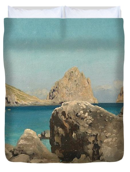 Rocks Of The Sirens Duvet Cover by Frederic Leighton