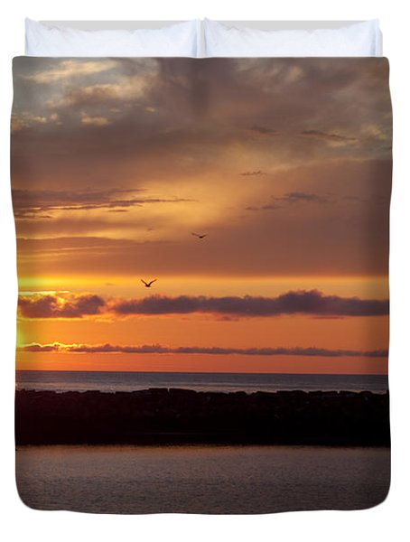 Rocky Harbour Sunset Duvet Cover