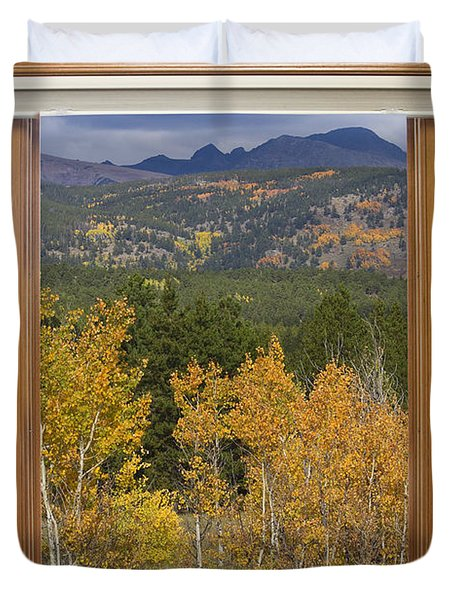 Rocky Mountain Autumn Picture Window Scenic View Duvet Cover