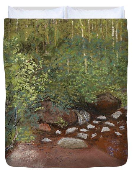 Rocky Mountain Creek Duvet Cover by Ginny Neece