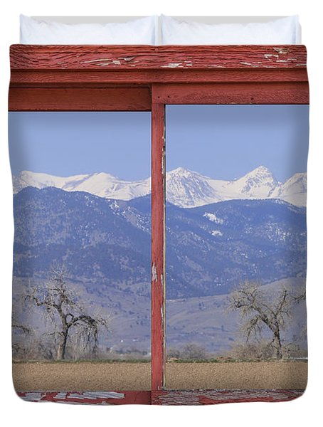 Rocky Mountain Front Range Red Picture Window Frame Photo Art Duvet Cover