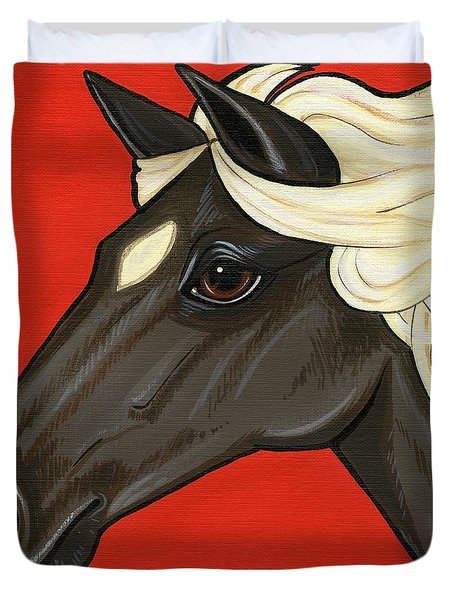 Rocky Mountain Pony Duvet Cover by Leanne Wilkes
