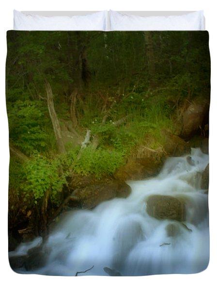 Rocky Mountain Waterfall Duvet Cover by Ellen Heaverlo