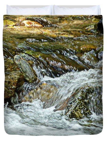 Duvet Cover featuring the photograph Rocky River by Lydia Holly