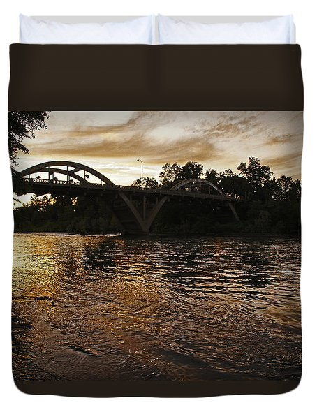 Rogue River Sunset Duvet Cover by Mick Anderson