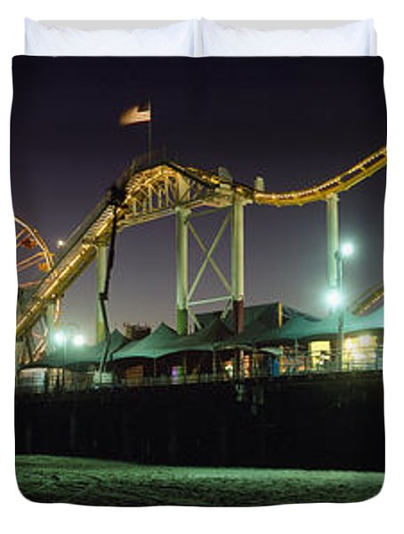 Rollercoaster And Ferris Wheel At Dusk Duvet Cover by Axiom Photographic
