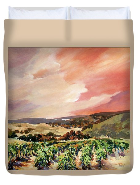 Duvet Cover featuring the painting Rolling Vineyards 2 by Rae Andrews