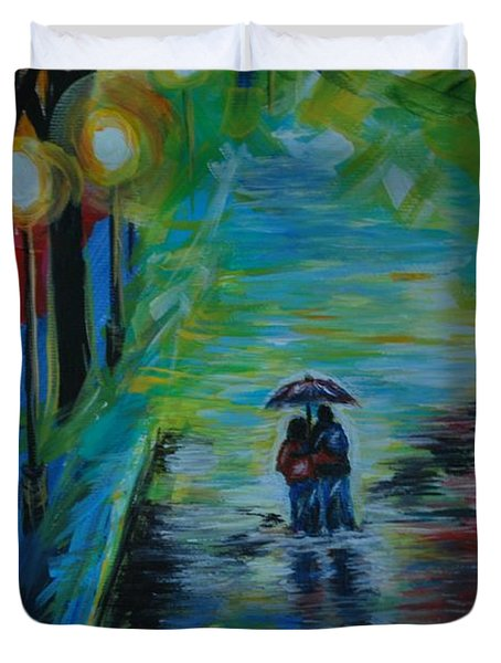 Romantic Stroll Series II Duvet Cover by Leslie Allen