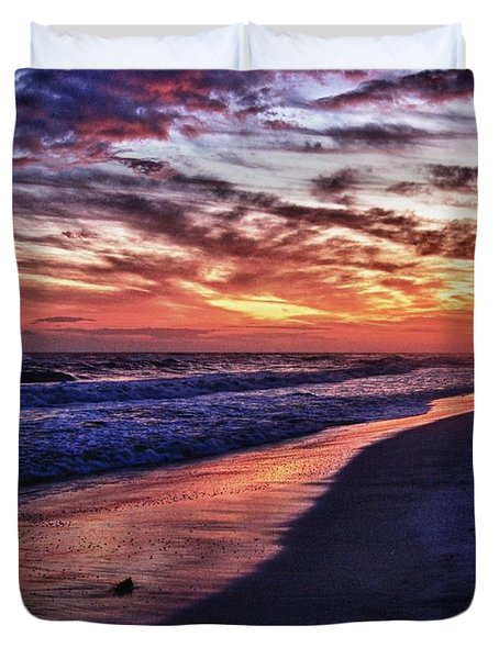 Romar Beach Sunset Duvet Cover by Michael Thomas