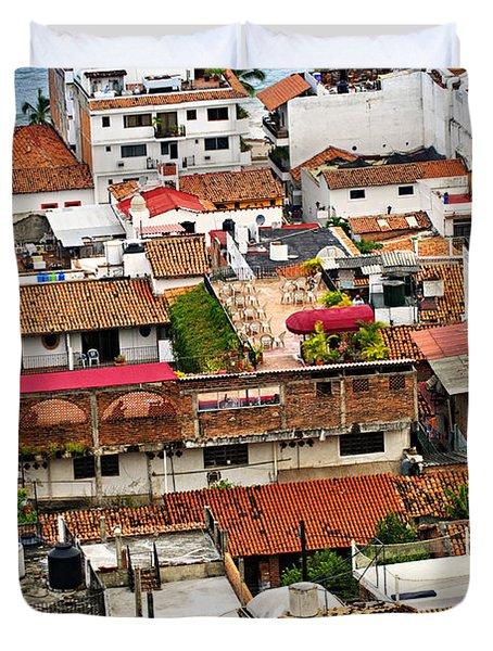 Rooftops In Puerto Vallarta Mexico Duvet Cover by Elena Elisseeva