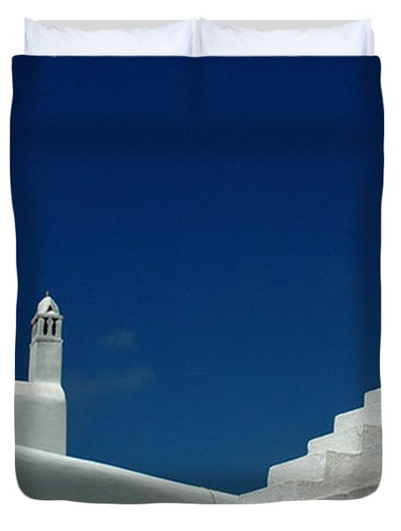Duvet Cover featuring the photograph Rooftops Of Mykonos by Vivian Christopher