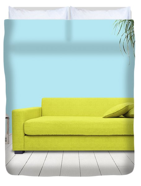 Room With Green Sofa Duvet Cover