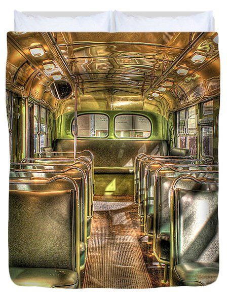 Rosa Parks Bus Inside Dearborn Mi Duvet Cover by Nicholas  Grunas