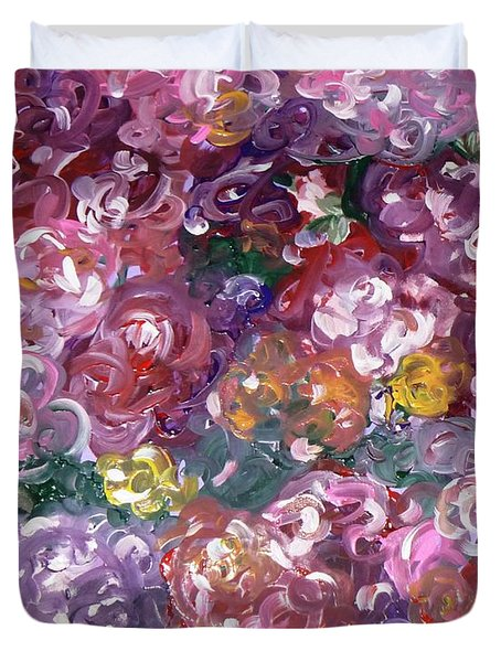 Duvet Cover featuring the painting Rose Festival by Alys Caviness-Gober