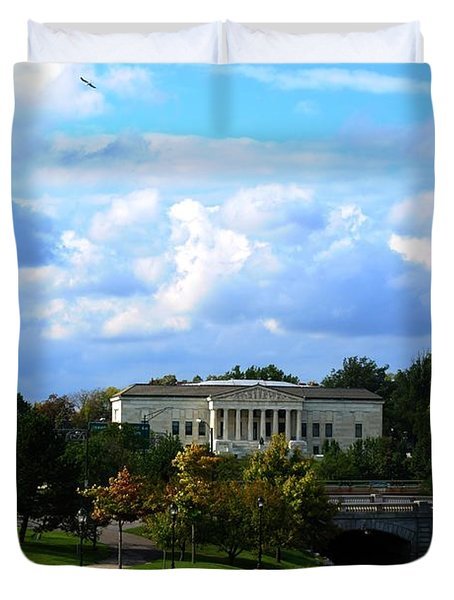 Duvet Cover featuring the photograph Rose Garden And Hoyt Lake by Michael Frank Jr