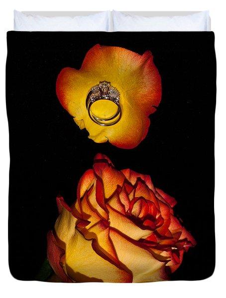 Rose Petals And Wedding Rings 1 Duvet Cover by Douglas Barnett