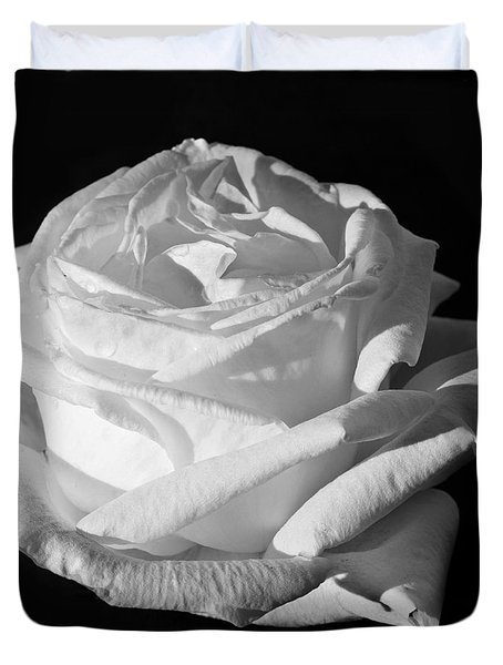 Duvet Cover featuring the photograph Rose Silver Anniversary Monochrome by Steve Purnell
