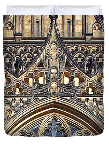 Rose Window - Exterior Of St Vitus Cathedral Prague Castle Duvet Cover by Christine Till