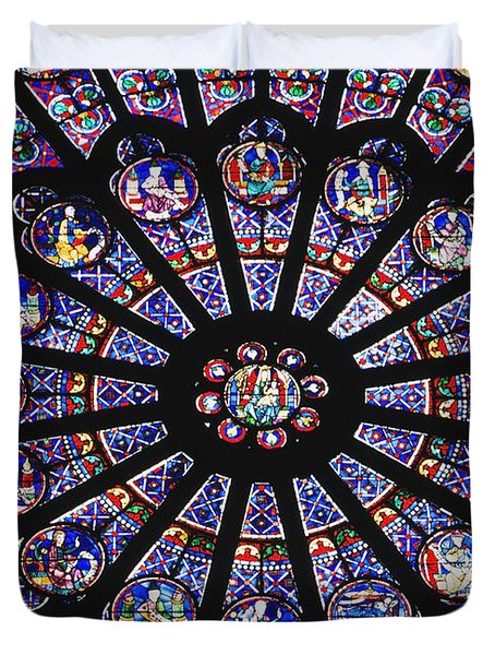 Rose Window In The Notre Dame Cathedral Duvet Cover by Axiom Photographic