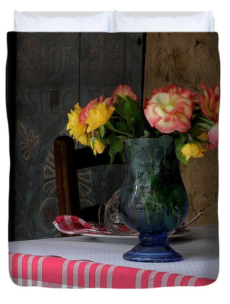 Roses In Blue Glass Vase Duvet Cover by Lainie Wrightson