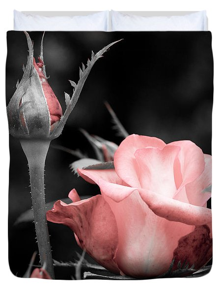 Duvet Cover featuring the photograph Roses In Pink And Gray by Michelle Joseph-Long