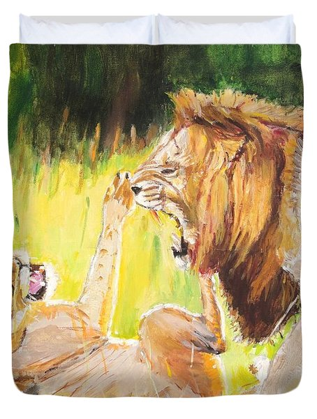 Rough Play Duvet Cover by Judy Kay