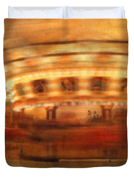 Round And Round Goes The Dentzel Carousel At Glen Echo Park Md Duvet Cover