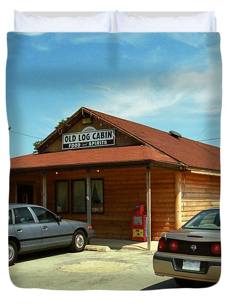 Route 66 - Old Log Cabin Duvet Cover by Frank Romeo