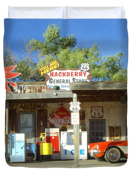 Route 66 Hackberry Arizona Duvet Cover by Bob Christopher