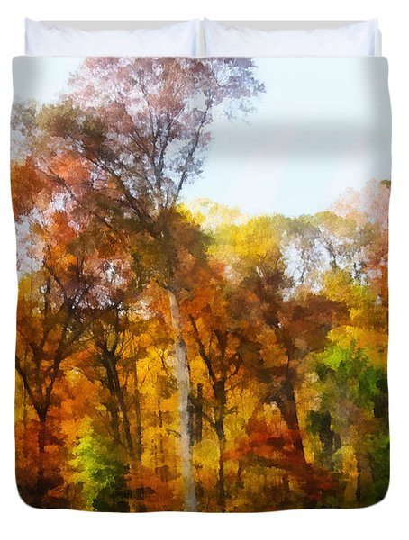Row Of Autumn Trees Duvet Cover by Susan Savad