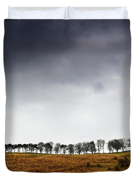 Row Of Trees In A Field, Yorkshire Duvet Cover by John Short