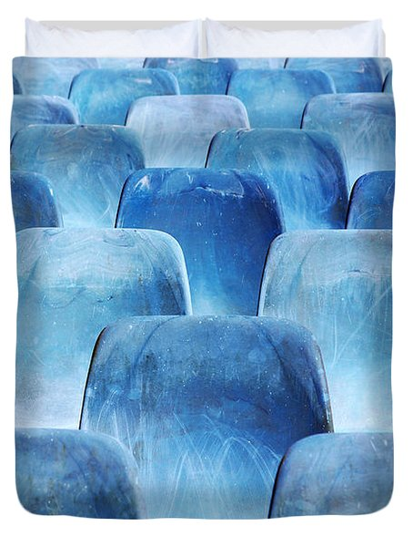 Rows Of Blue Chairs Duvet Cover by Carlos Caetano