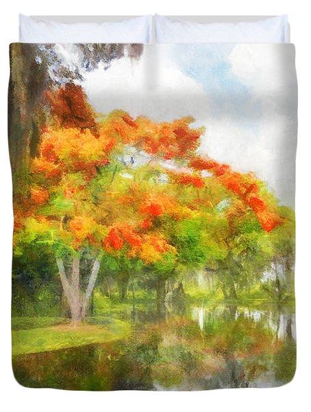 Royal Poinciana Lake Duvet Cover by Francesa Miller