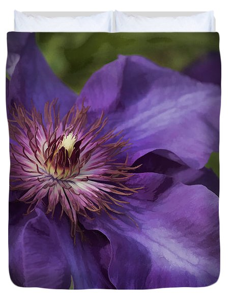 Royal Purple Jackmanii Clematis Blossom Duvet Cover by Kathy Clark