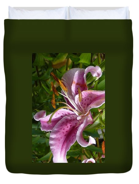 Duvet Cover featuring the photograph Rubrum Lily by Carla Parris