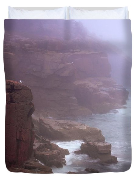 Rugged Seacoast In Mist Duvet Cover
