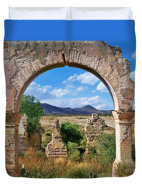 Duvet Cover featuring the photograph Ruins Of Mineral De Pozos by John  Kolenberg