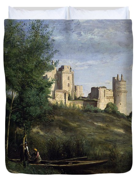 Ruins Of The Chateau De Pierrefonds Duvet Cover by Jean Baptiste Camille Corot