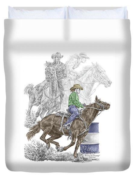 Running The Cloverleaf - Barrel Racing Print Color Tinted Duvet Cover by Kelli Swan