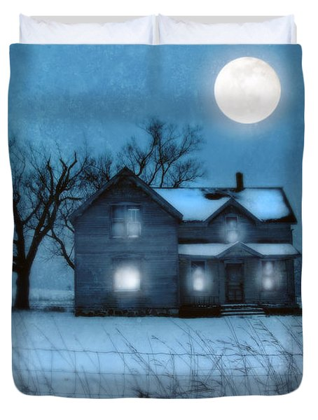 Rural Farmhouse Under Full Moon Duvet Cover by Jill Battaglia
