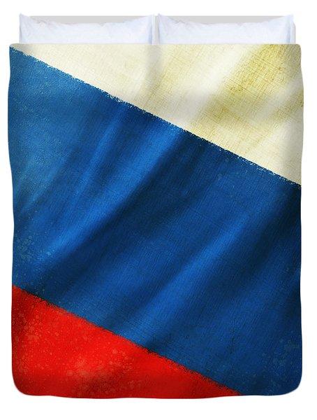 Russia Flag Duvet Cover by Setsiri Silapasuwanchai