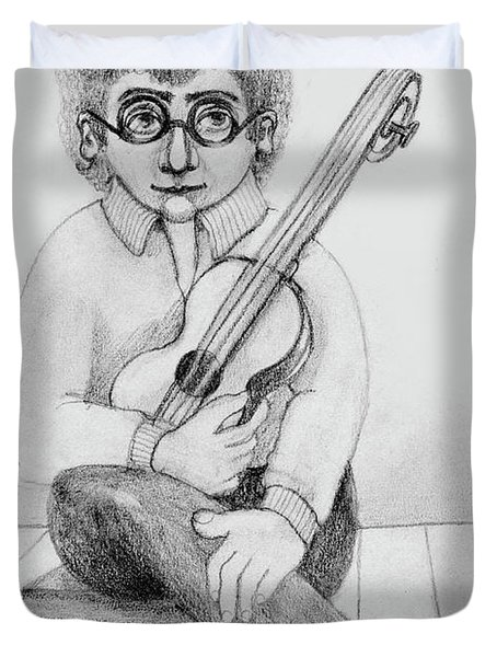 Russian Guitarist Black And White Art Eyeglasses Long Curly Hair Tie Chin Shirt Trousers Shoes Chair Duvet Cover