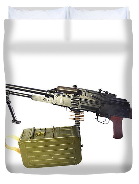 Russian Pkm General-purpose Machine Gun Duvet Cover by Andrew Chittock