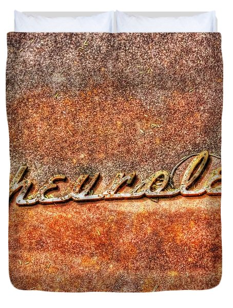 Rusted Antique Chevrolet Logo Duvet Cover by Dan Stone