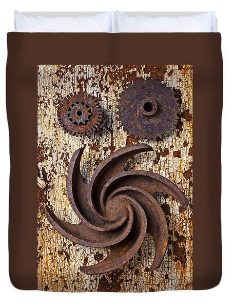 Rusty Gears Duvet Cover by Garry Gay